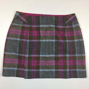 Boden Wool Plaid Wool Skirt